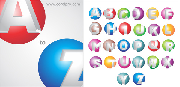 3D Logo Alphabets templates for free download